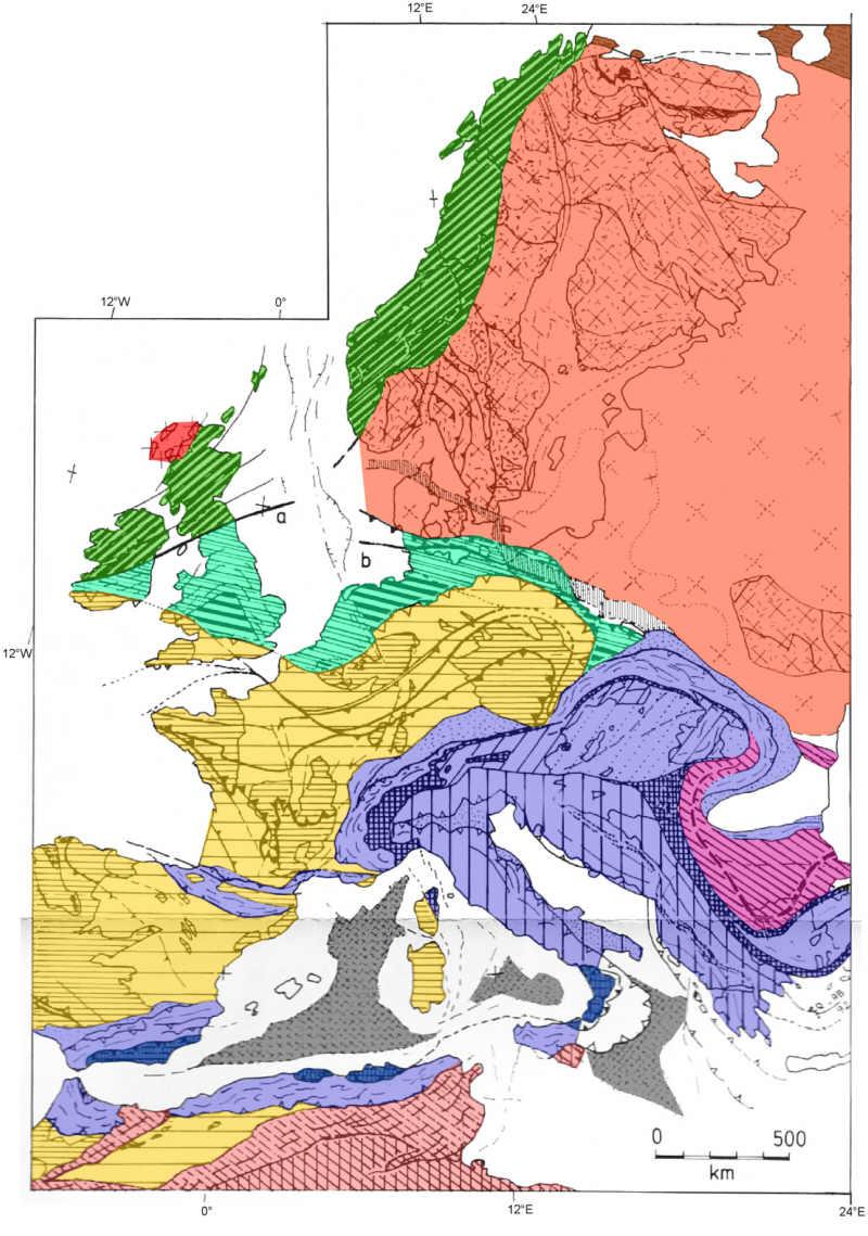 Karte Der Gebirgsbildungen In Europa