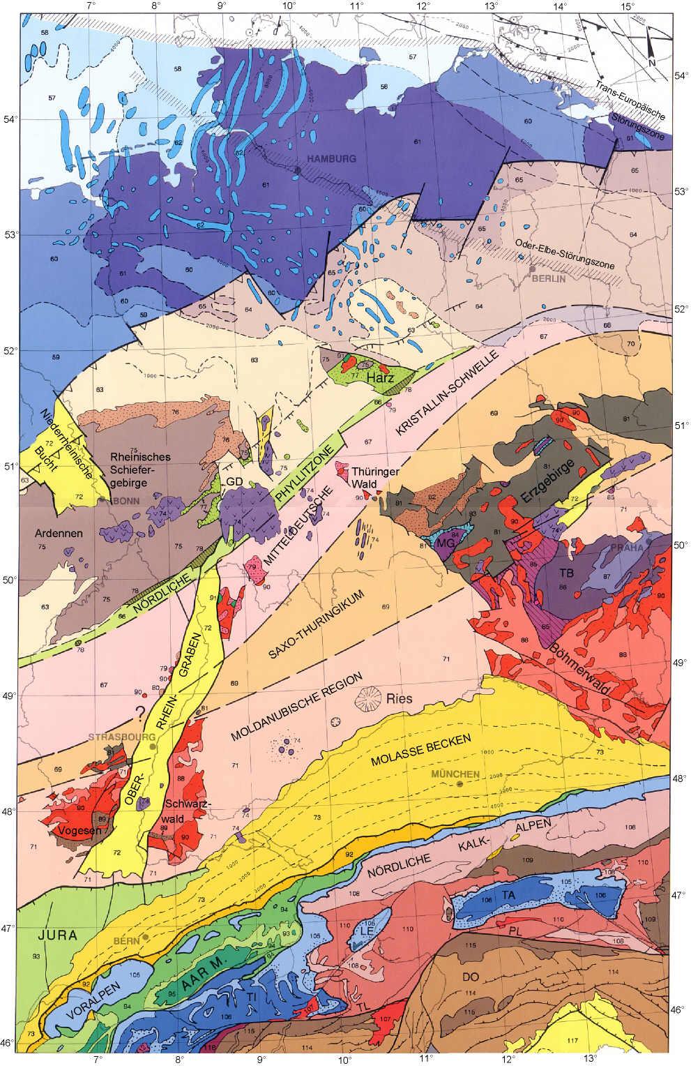 tektonische karte deutschland Tektonische Übersichtskarte von Deutschland